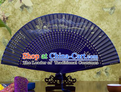 Traditional Chinese Handmade Crafts Folding Fan, China Sensu Painting Hangzhou West Lake Broken Bridge with Thawing Snow Silk Fan Hanfu Fans for Women