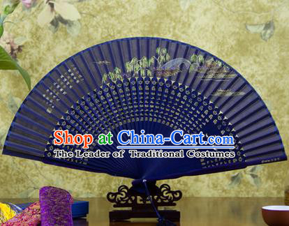 Traditional Chinese Handmade Crafts Folding Fan, China Sensu Painting Hangzhou West Lake Yang Gong Dike Silk Fan Hanfu Fans for Women