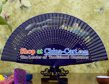 Traditional Chinese Handmade Crafts Folding Fan, China Sensu Painting Qiantang River Tide Silk Fan Hanfu Fans for Women