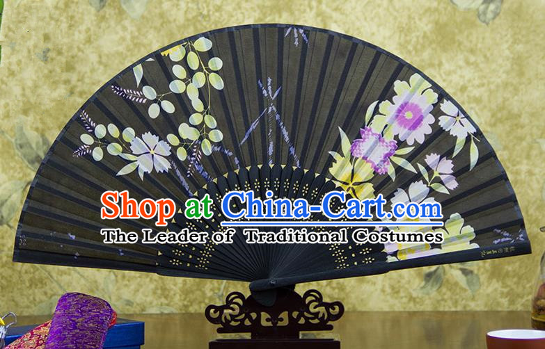 Traditional Chinese Handmade Crafts Folding Fan, China Pink Printing Flowers Sensu Black Silk Fan Hanfu Fans for Women