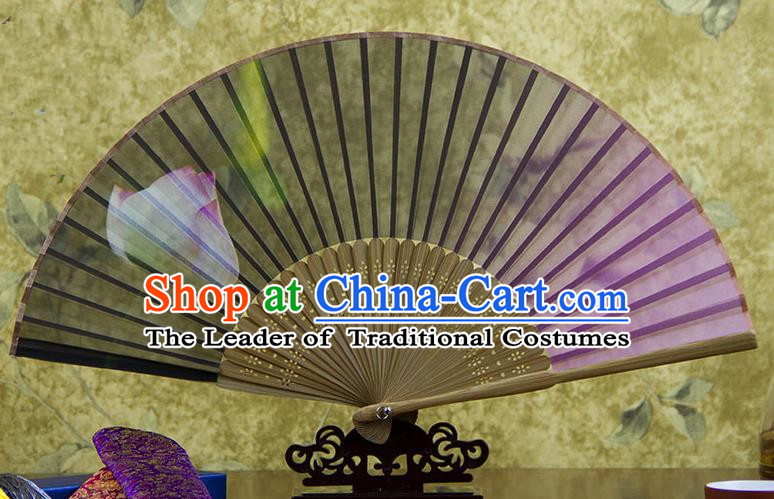 Traditional Chinese Handmade Crafts Folding Fan, China Green Printing Lotus Flowers Sensu Pink Silk Fan Hanfu Fans for Women