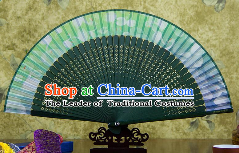 Traditional Chinese Handmade Crafts Folding Fan, China Green Printing Flowers Sensu Black Silk Fan Hanfu Fans for Women