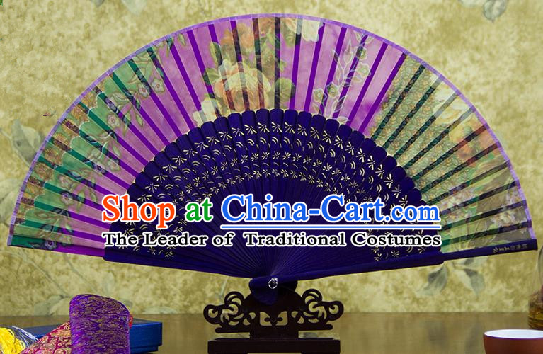 Traditional Chinese Handmade Crafts Folding Fan, China Green Printing Purple Flowers Sensu Orange Silk Fan Hanfu Fans for Women