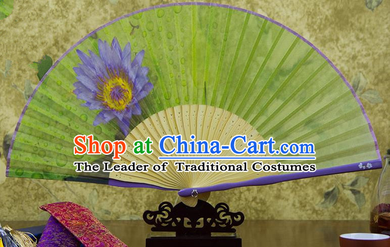 Traditional Chinese Handmade Crafts Folding Fan, China Printing Blue Lotus Flower Sensu Silk Fan Hanfu Fans for Women