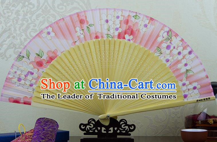 Traditional Chinese Handmade Crafts Folding Fan, China Printing Flowers Sensu Pink Silk Fan Hanfu Fans for Women