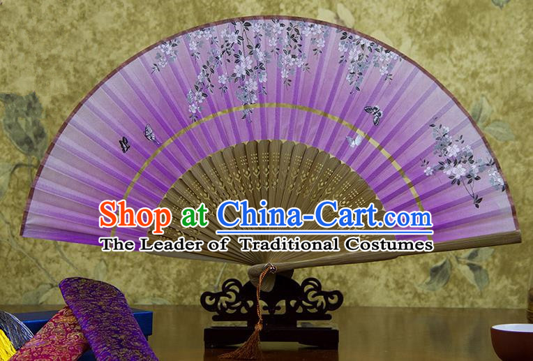 Traditional Chinese Handmade Crafts Two-segment Folding Fan, China Printing Flowers Sensu Lilac Silk Fan Hanfu Fans for Women