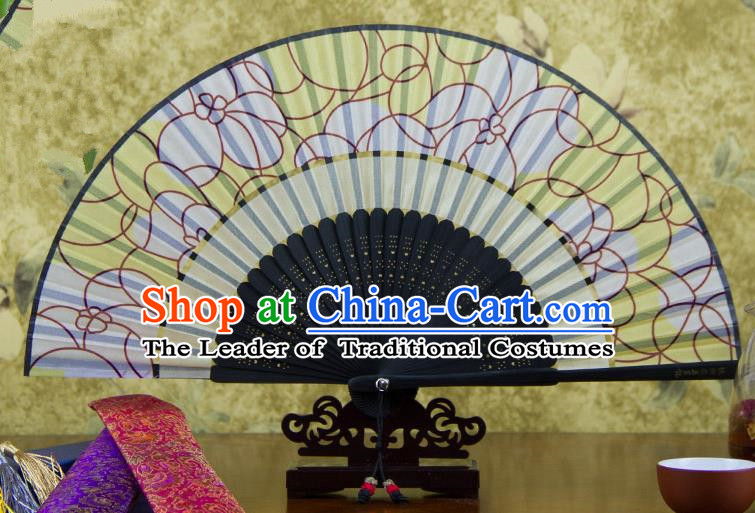Traditional Chinese Handmade Crafts Two-segment Folding Fan, China Printing Flowers Sensu Yellow Silk Fan Hanfu Fans for Women