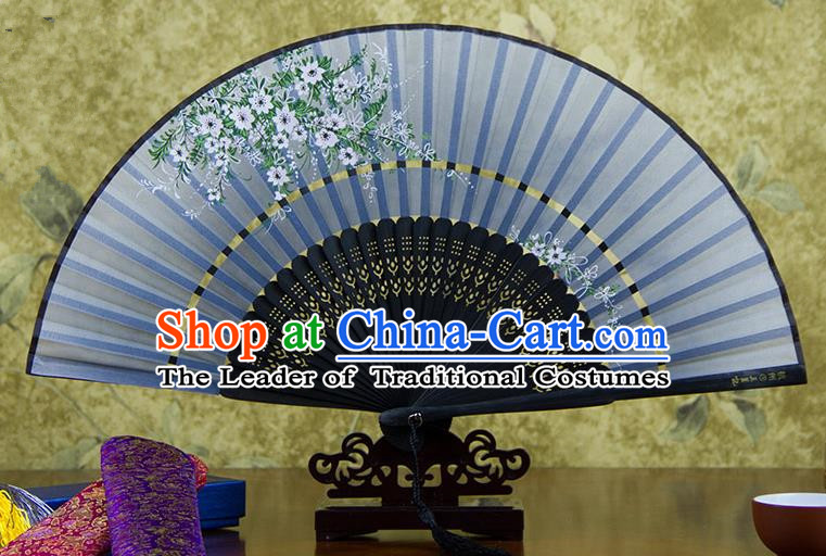 Traditional Chinese Handmade Crafts Two-segment Folding Fan, China Printing Flowers Sensu Blue Silk Fan Hanfu Fans for Women