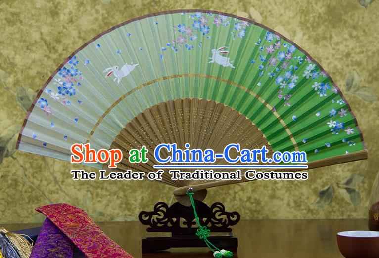 Traditional Chinese Handmade Crafts Two-segment Folding Fan, China Printing Flowers Rabbit Sensu Green Silk Fan Hanfu Fans for Women