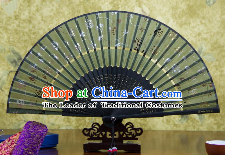 Traditional Chinese Handmade Crafts Two-segment Folding Fan, China Printing Rose Flowers Sensu Atrovirens Silk Fan Hanfu Fans for Women