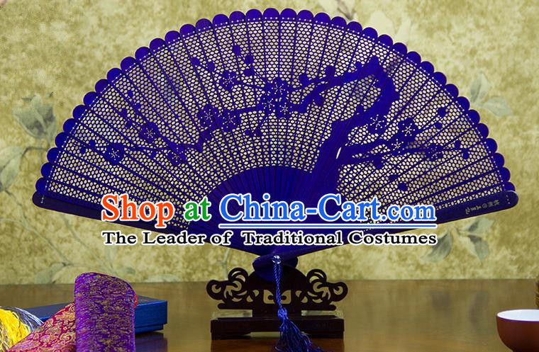 Traditional Chinese Handmade Crafts Bamboo Carving Folding Fan, China Classical Plum Blossom Sensu Hollow Out Wood Purple Fan Hanfu Fans for Women