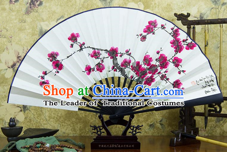 Traditional Chinese Handmade Crafts Ebonize Folding Fan, China Classical Art Paper Sensu Ink Painting Plum Blossom Xuan Paper Purple Fan Hanfu Fans for Men