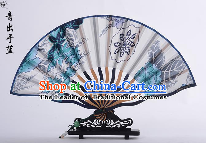 Traditional Chinese Handmade Crafts Folding Fan, China Printing Blue Flower Sensu Silk Fan Hanfu Fans for Women