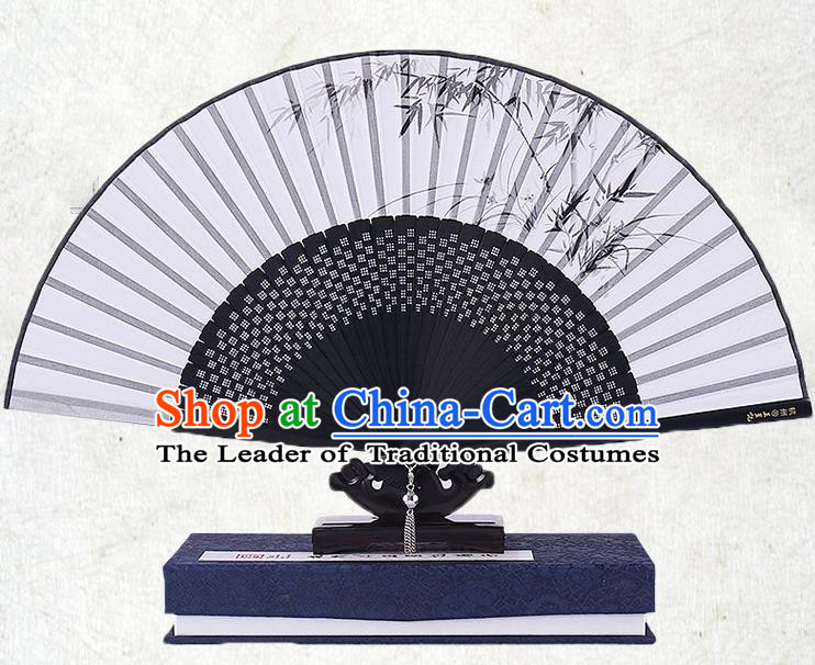 Traditional Chinese Handmade Crafts Folding Fan, China Classical Ink Painting Bamboo Sensu Silk Fan Hanfu Fans for Men