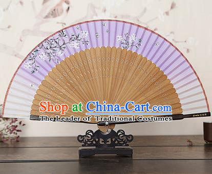Traditional Chinese Handmade Crafts Bamboo Rib Folding Fan, China Classical Printing Peach Flowers Sensu Gradient Purple Silk Fan Hanfu Fans for Women