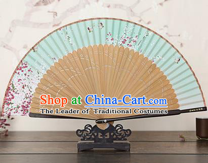 Traditional Chinese Handmade Crafts Bamboo Rib Folding Fan, China Classical Printing Peach Flowers Sensu Gradient Green Silk Fan Hanfu Fans for Women