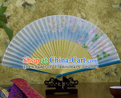 Traditional Chinese Handmade Crafts Bamboo Rib Folding Fan, China Classical Printing Butterfly Sensu Gradient Blue Silk Fan Hanfu Fans for Women