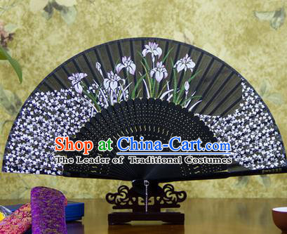 Traditional Chinese Handmade Crafts Bamboo Rib Folding Fan, China Classical Printing Orchid Sensu Black Silk Fan Hanfu Fans for Women