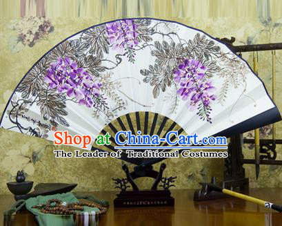 Traditional Chinese Handmade Crafts Ebonize Folding Fan, China Classical Art Paper Sensu Ink Painting Wisteria Xuan Paper Fan Hanfu Fans for Men