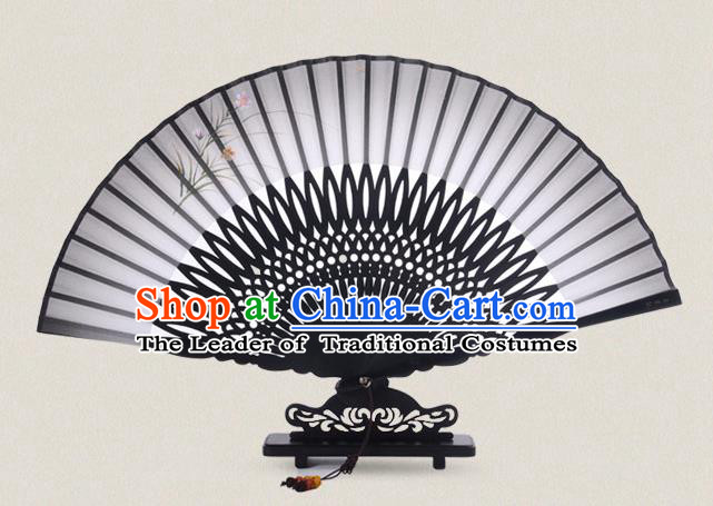Traditional Chinese Handmade Crafts Painting Flowers Folding Fan, China Classical Sensu Grey Silk Fan Hanfu Fans for Women