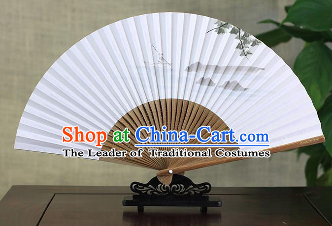 Traditional Chinese Handmade Crafts Ink Painting Fisherboat Folding Fan, China Classical Art Paper Sensu Xuan Paper Fan Hanfu Fans for Men