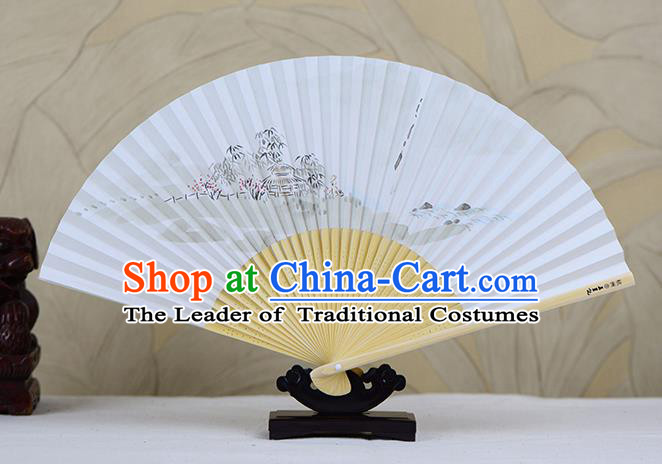 Traditional Chinese Handmade Crafts Ink Painting Lake Scenery Folding Fan, China Classical Art Paper Sensu Xuan Paper Fan Hanfu Fans for Men