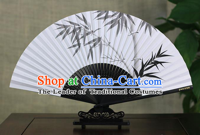 Traditional Chinese Handmade Crafts Ink Painting Bamboo Folding Fan, China Classical Art Paper Sensu Xuan Paper Fan Hanfu Fans for Men