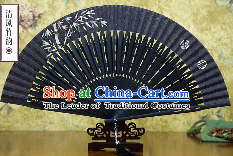 Traditional Chinese Handmade Crafts Silk Folding Fan, China Classical Sensu Printing Bamboo Fan Hanfu Fans for Men