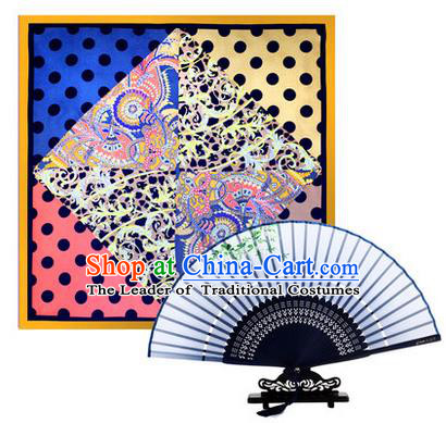 Traditional Chinese Handmade Crafts Silk Folding Fan and Scarves, China Classical Grey Sensu Peach Blossom Fan Hanfu Fans for Women