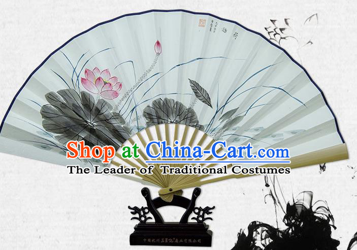 Traditional Chinese Handmade Crafts Xuan Paper Folding Fan, China Classical Art Paper Sensu Ink Painting Lotus Fan Hanfu Fans for Men