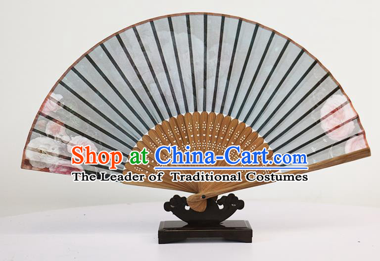 Traditional Chinese Handmade Crafts Silk Folding Fan, China Classical Chiffon Sensu Printing Peony Fan Hanfu Fans for Women