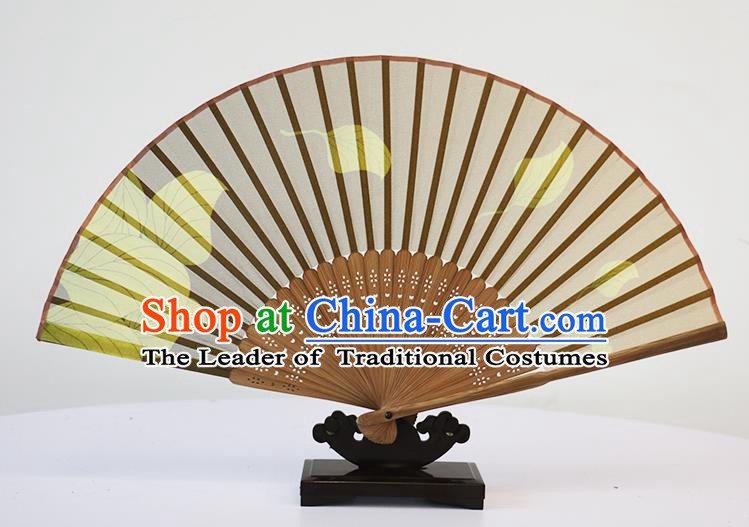 Traditional Chinese Handmade Crafts Silk Folding Fan, China Classical Chiffon Sensu Printing Leaf Fan Hanfu Fans for Women