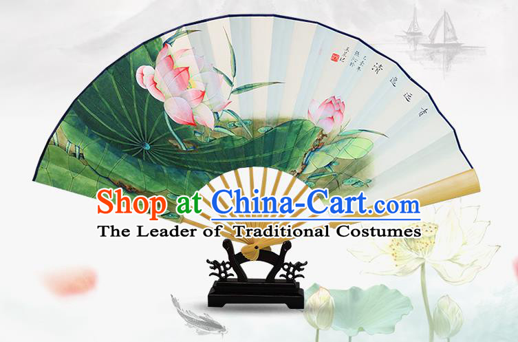 Traditional Chinese Handmade Crafts Water Jade Bone Folding Fan, China Classical Art Paper Hand Painting Lotus Sensu Xuan Paper Fan Hanfu Fans for Men