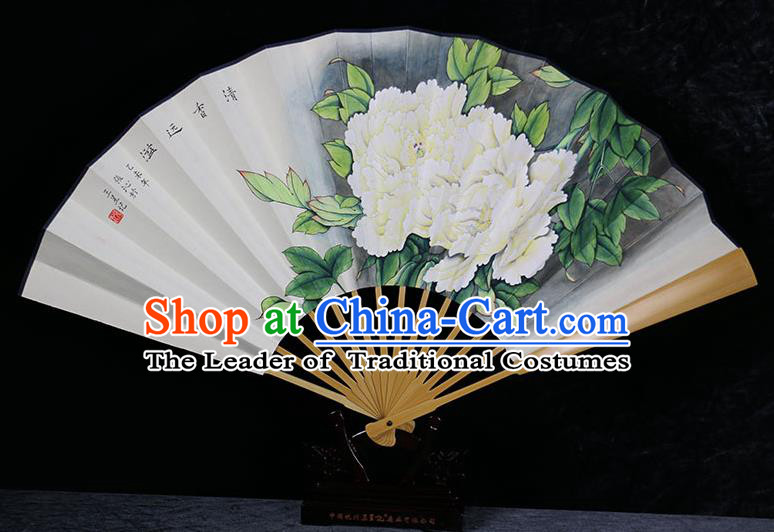Traditional Chinese Handmade Crafts Water Jade Bone Folding Fan, China Classical Art Paper Hand Painting Peony Sensu Xuan Paper Fan Hanfu Fans for Men