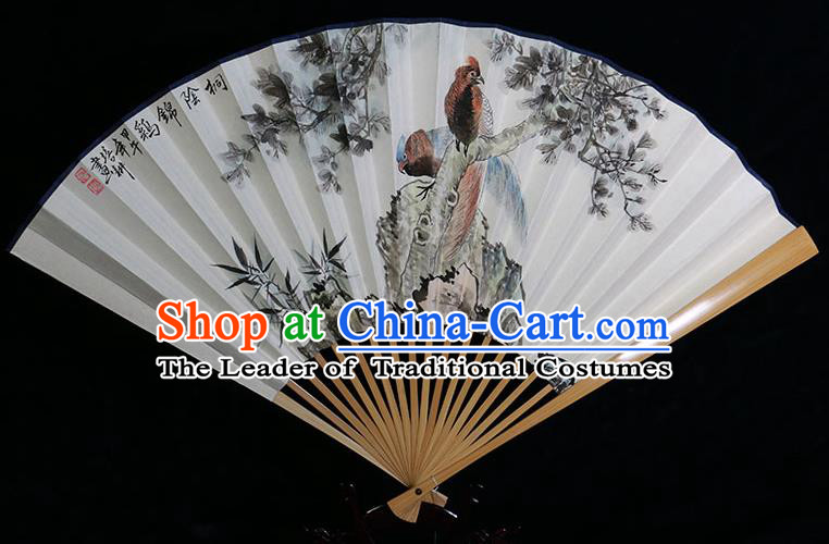 Traditional Chinese Handmade Crafts Water Jade Bone Folding Fan, China Classical Art Paper Hand Painting Golden Pheasant Sensu Xuan Paper Fan Hanfu Fans for Men