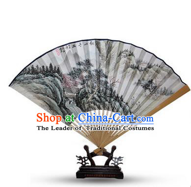 Traditional Chinese Handmade Crafts Water Jade Bone Folding Fan, China Classical Art Paper Hand Painting Landscape Scenery Sensu Xuan Paper Fan Hanfu Fans for Men