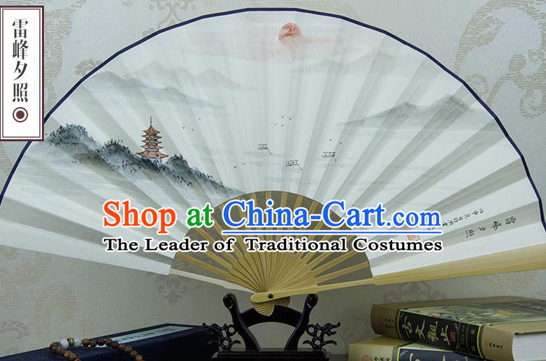 Traditional Chinese Handmade Crafts Xuan Paper Folding Fan, China Classical Art Paper Sensu Ink Painting Leifeng Pagoda Sunset Glow Fan Hanfu Fans for Men