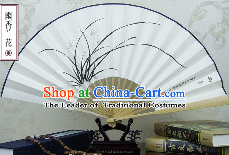 Traditional Chinese Handmade Crafts Xuan Paper Folding Fan, China Classical Art Paper Sensu Ink Painting Orchid Fan Hanfu Fans for Men