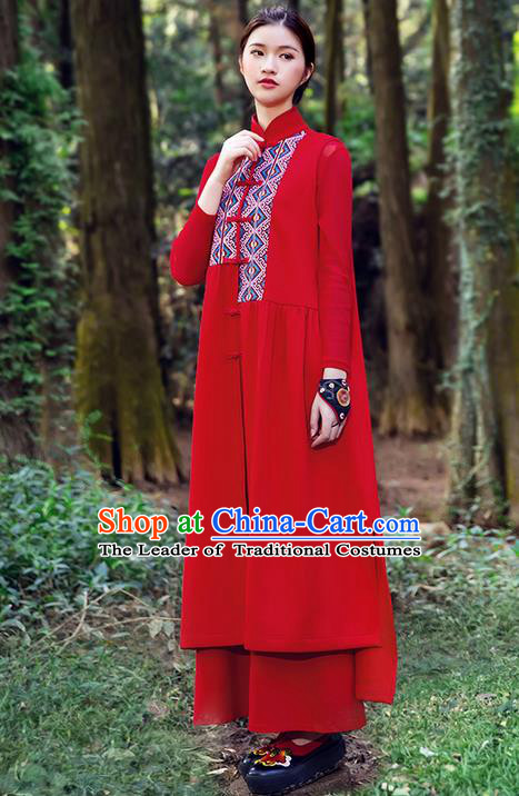 Traditional Chinese Costume Elegant Hanfu Embroidered Vest Dress, China Tang Suit Cheongsam Red Qipao Plated Buttons Dress Clothing for Women