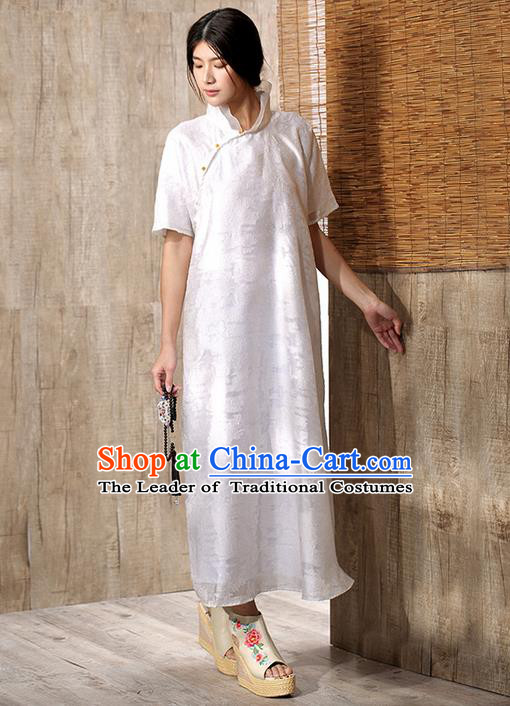 Traditional Chinese Costume Elegant Hanfu Embroidered Dress, China Tang Suit Cheongsam White Qipao Plated Buttons Dress Clothing for Women
