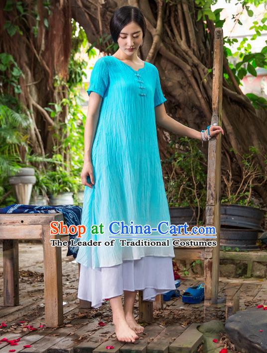 Traditional Chinese Costume Elegant Hanfu Linen Dress China Tang