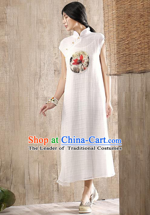 Traditional Chinese Costume Elegant Hanfu Printing Lotus Linen Dress, China Tang Suit Plated Buttons Cheongsam White Qipao Dress Clothing for Women