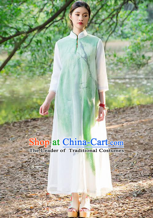 Traditional Chinese Costume Elegant Hanfu Printing Silk Dress, China Tang Suit Plated Buttons Cheongsam Green Qipao Dress Clothing for Women