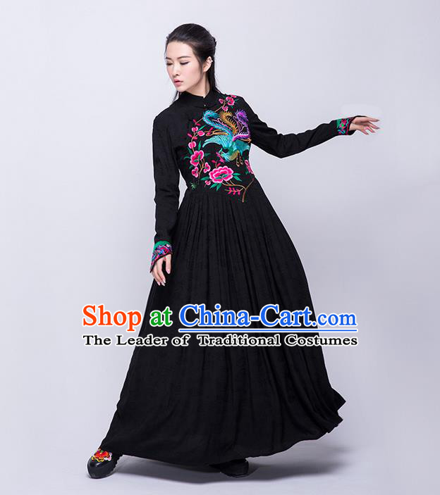 Traditional Chinese Costume Elegant Hanfu Embroidered Dress, China Tang Suit Plated Buttons Cheongsam Black Qipao Dress Clothing for Women