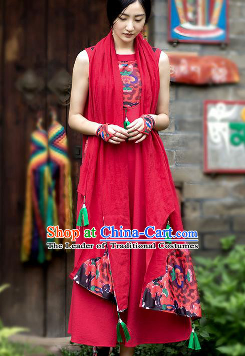Traditional Chinese Costume Elegant Hanfu Red Cappa, China Tang Suit Tippet Printing Scarves for Women