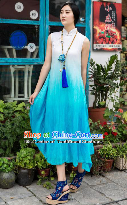 Traditional Chinese Costume Elegant Hanfu Blue Dress, China Tang Suit Linen Cheongsam Plated Buttons Qipao Dress Clothing for Women