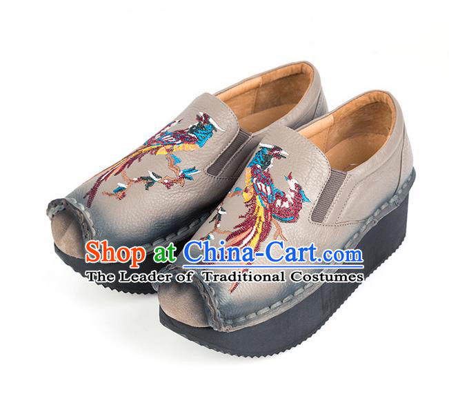 Traditional Chinese Shoes Embroidered Shoes Black Cow Leather Slipsole Shoes Hanfu Grey Shoes for Women