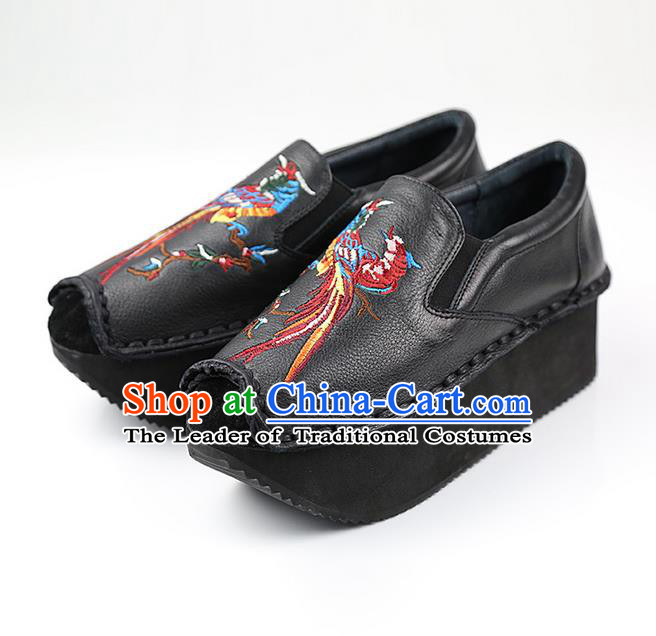 Traditional Chinese Shoes Embroidered Shoes Black Cow Leather Slipsole Shoes Hanfu Black Shoes for Women