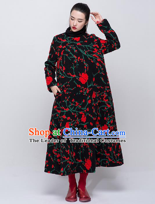 Traditional Chinese Costume Elegant Hanfu Woolen Dress, China Tang Suit Dress Clothing for Women