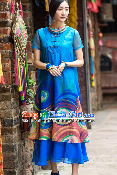 Traditional Chinese Costume Elegant Hanfu Printing Peacock Pattern Dress, China Tang Suit Plated Buttons Cheongsam Blue Qipao Dress Clothing for Women